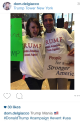 Actors Domenico Del Giacco and Courtney Klotz pose as Donald Trump fans at the announcement.