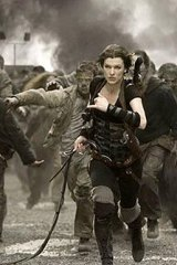 Milla Jovovich is chased by zombies in a scene from an earlier Resident Evil film.