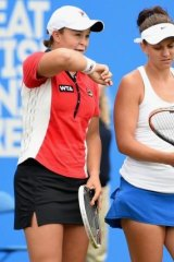 Ashleigh Barty with doubles partner Casey Dellacqua during the final of the Aegon Classic at Edgbaston Priory Club in Birmingham on June 15.