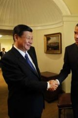 Corridors of power ... Xi Jinping meets with US President Barack Obama in February.