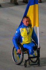 Flagbearer Mykailo Tkachenko was the only Ukraine team representative in the opening ceremony.
