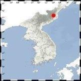 Punggye-ri (red mark), a North Korean nuclear test site in Kilju, North Hamkyong Province.