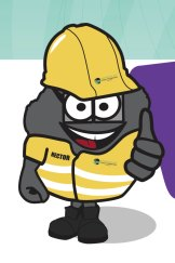 Hector, a lump of coal that acts as a mascot for Dalrymple Bay Coal Terminal. Critics say the mascot is marketing coal to children.