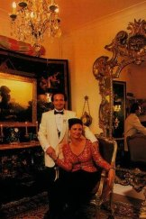 """Prince Giustiniani and his fiancee in a regal pose amid the splendours of his Woolloomooloo house. """"Home is a very middle-class concept,"""" he says."""