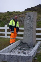 Colin Corkill, a Shackleton admirer since he was a boy, at the explorers's grave at South Georgia in the southern Atlantic Ocean.