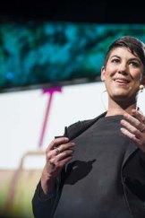 Leyla Acaroglu on stage for TED.