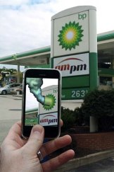 Layered look ... an augmented reality app adds a toxic plume to the BP logo.