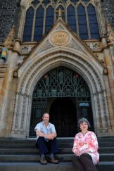 Catholic mediator Alan Baker with sex abuse victim Mairead Ashcroft outside St Patrick's Cathedral.