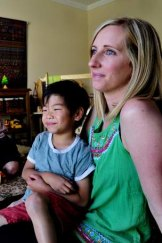 ACT Adopted Families Association president Bronwyn Lucey with adopted son Kai, 5.