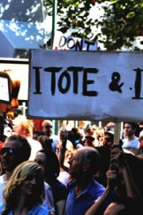 Tote supporters at the SLAM rally.
