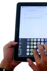 John Lambie's keyboard in use on a tablet.