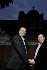 James Nevein and partner  David Witte are Christians, like 40 per cent of same-sex couples in the 2011 census.