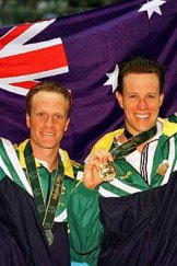 Glory ... Kowalski proudly displays his Olympic silver medal beside golden boy Kieren Perkins after the 1500m freestyle final at the Atlanta Olympics in 1996.