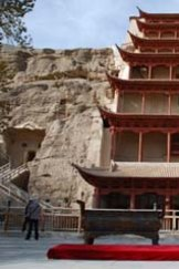 The entrance to the Caves of the Thousand Buddhas where a cave, sealed for a thousand years, contained the world's oldest printed book.