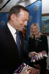 Tony Abbott during his visit to the Cadbury factory in Hobart, Tasmania, during the election campaign.