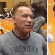 Arnold Schwarzenegger struck down by flying kick