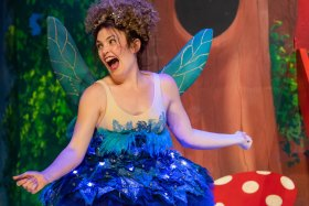 Winging it: Tammy Weller cavorts as Tinkerbell.