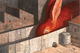 Shaun Tan, Never leave a red sock on the clothesline, 2012/13, oil on canvas [from Rules of Summer, Hachette, Australia, 2013] Courtesy of the artist.