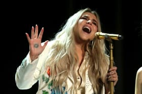 Kesha performing at last month's 60th annual Grammy Awards.