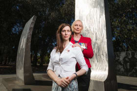 Firm friends Ayla Holdom and Catherine McGregor at Canberra's National Memorial to the Royal Australian Air Force.
