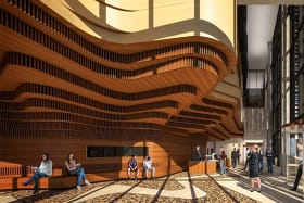 In the entrance to Shepparton's new court building, layered timbers abstract the Koori court logo of a giant tree and its roots.