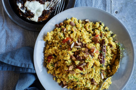 Three Blue Ducks' 'big and bold' harissa eggplant with couscous recipe