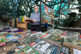 One of the vendors, Andrew Barnes. Federation Square, Melbourne. September 23rd 2017. Photo: Daniel Pockett