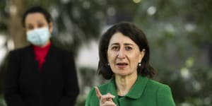 NSW Premier Gladys Berejiklian and NSW Deputy Chief Health Officer Dr Marianne Gale provide a COVID-19 update in Sydney's Hyde Park.