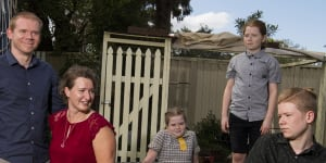 Holly and Lew Usher and their children Claire,9 and Nathan,11 and Rowan,13 at their Dundas home.