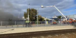 Emergency crews battle blaze in Fremantle boatyard