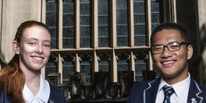 St Andrews Cathedral School students Gemma Gardiner and Dylan Nguyen did not expect to begin exams before their HSC peers