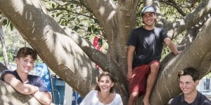 Students Rex Alameddine,Hamilton Thorley,Hannah Moffat,Patrick Foley Jones at Balmoral Beach