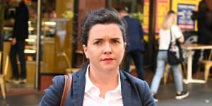 Siobhan Hamblin,the former chief of staff for John Barilaro,outside the Downing Centre on Wednesday.