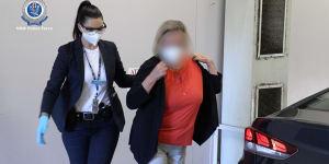 NSW Police arrest Sydney teacher Helga Lam on Friday morning.