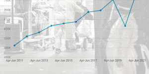 Composite - NSW emergency departments were the busiest in April to June since Bureau of Health Information reporting began in 2010.CREDIT:JAY CRONAN with graphic of hospital admissions