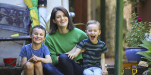 Bronwen Morgan with her two sons,Archie,6,and Oscar,4,on the day before school returns.