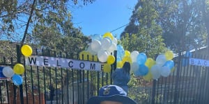 Balloons welcomed students back on Monday,but on Wednesday the school was closed due to COVID-19