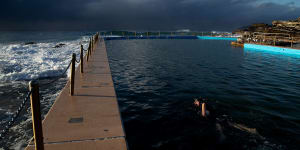 Swimmers at Curl Curl Ocean pool in Sydney.