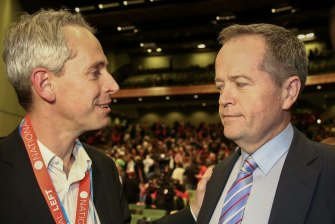 Labor MP Andrew Giles and leader Bill Shorten at the ALP's last national conference in 2015.