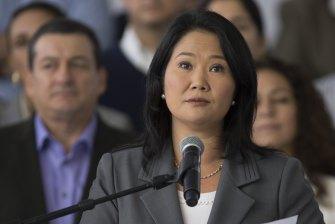Keiko Fujimori, daughter of Vargas Llosa's political foe, former Peruvian president Alberto Fujimori.