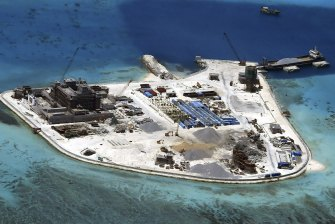 A Chinese base under construction on Mabini (Johnson) Reef, one of the disputed Spratly Islands in the South China Sea.