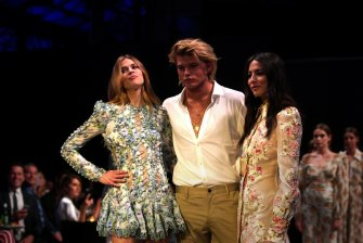 David Jones ambassadors Victoria Lee (left) and Jessica Gomes with guest model Jordan Barrett at the David Jones launch last Wednesday.