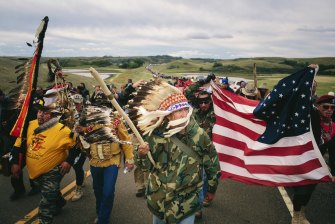 A protest march to a sacred burial ground at the Standing Rock Indian Reservation in North Dakota, in 2016.