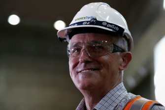 Prime Minister Malcolm Turnbull tours a hydro-power station in 2017.