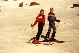 Peteris skiing with a school friend at Perisher Valley in 1983.