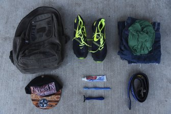 The belongings that a Honduran man has carried on his journey to Guatemala.