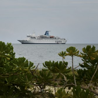 Casino ship Rex Fortune moored off Ream National Park.