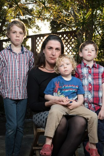 'Sick, annoyed and frustrated' - Rosemary Donald with her children (left to right) Mitchell, Sammy and Hugo.
