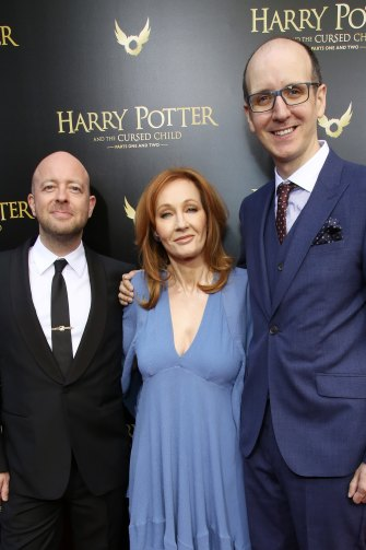 From left, Cursed Child director John Tiffany, J.K. Rowling and the play's writer Jack Thorne at the Broadway opening.