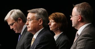 Then Prime Minister Kevin Rudd, Treasurer Wayne Swan, Deputy Prime Minister Julia Gillard and Infrastructure, Transport, Regional Development Minister Anthony Albanese in 2008.